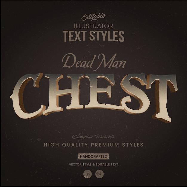 Estilo de texto de peito de piratas Vetor Premium