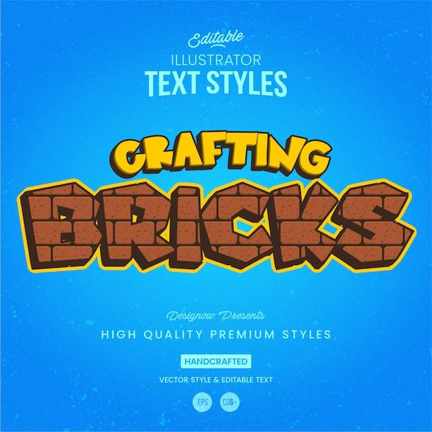 Estilo de texto de tijolos Vetor Premium