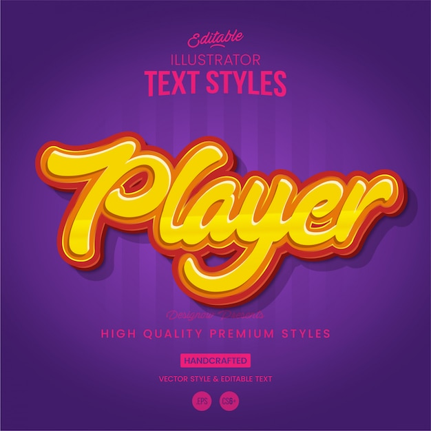 Estilo de texto do jogador Vetor Premium