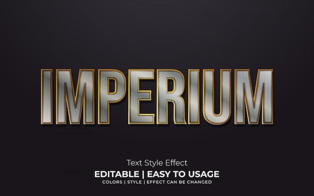 Estilo de texto metálico 3d com bordas douradas Vetor Premium