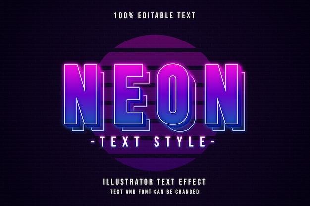 Estilo de texto neon, efeito de texto editável gradação rosa neon roxo camadas estilo de texto Vetor Premium
