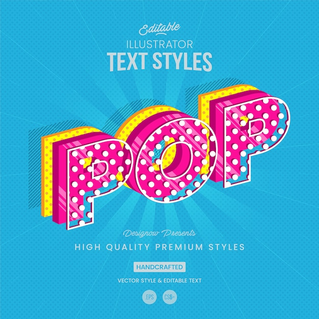 Estilo de texto pop art Vetor Premium