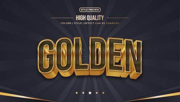 Estilo de texto realista em marrom e dourado com efeitos curvos e em relevo Vetor Premium