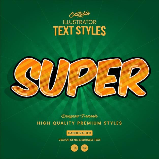 Estilo de texto super-herói Vetor Premium
