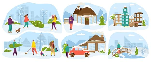 Estilo de vida das pessoas no inverno. família com crianças felizes na temporada de neve, diversão e atividade, vida de inverno em uma casa de campo, férias de natal. caminhando ao ar livre, férias. Vetor Premium