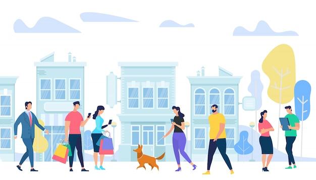 Estilo de vida de pessoas na cidade Vetor Premium