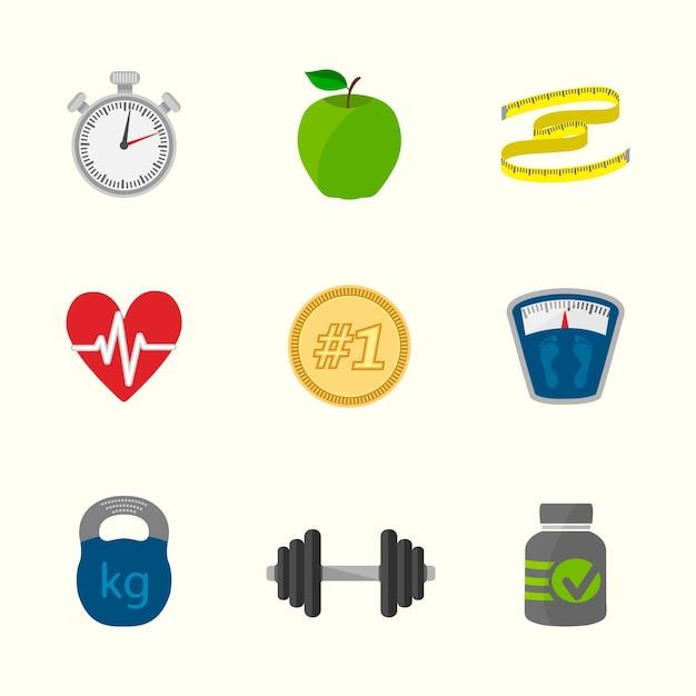 Estilo de vida saudável ícones coleção Vetor grátis