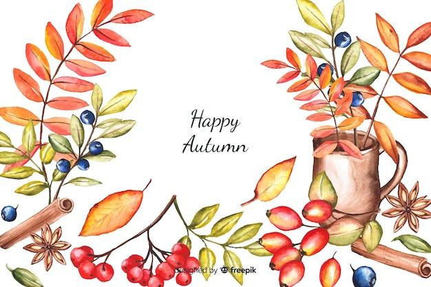 Estilo decorativo de outono fundo aquarela Vetor grátis