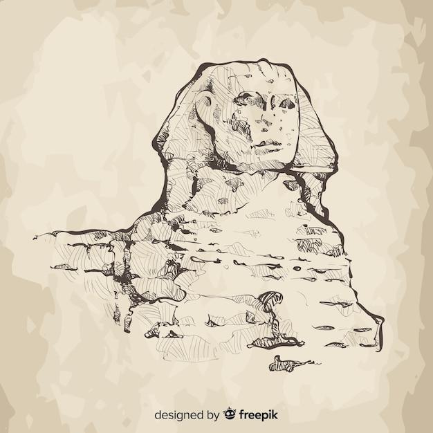 Estilo desenhado de mão de fundo esfinge de egito Vetor grátis