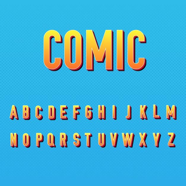 Estilo do alfabeto em quadrinhos 3d Vetor grátis