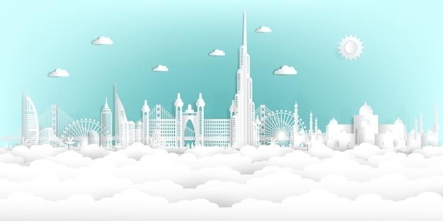 Estilo do corte de papel united arab emirates e skyline da cidade com os marcos mundialmente famosos. Vetor Premium