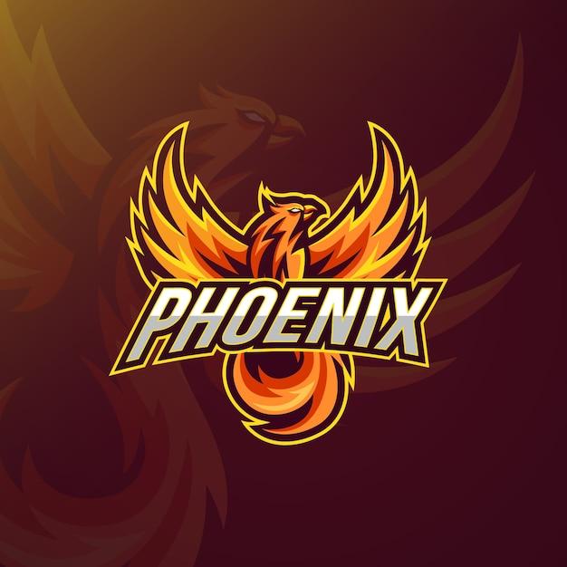 Estilo do logotipo com phoenix Vetor Premium