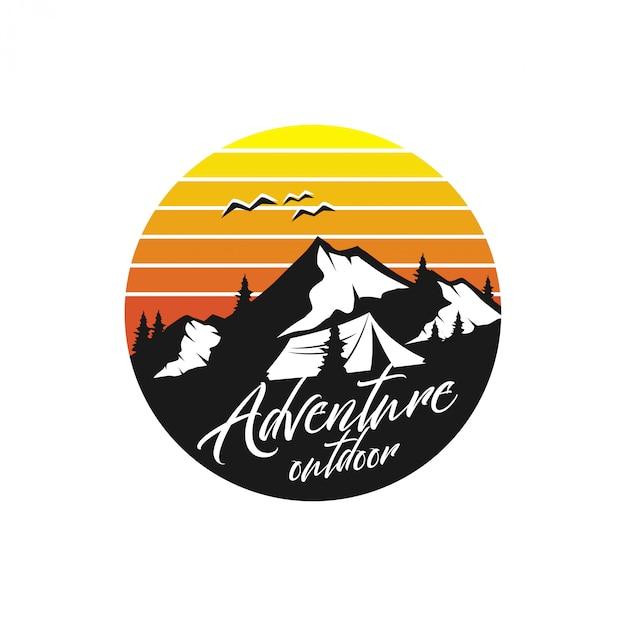 Estilo do monograma do logotipo da montanha do vintage - animais selvagens exteriores Vetor Premium
