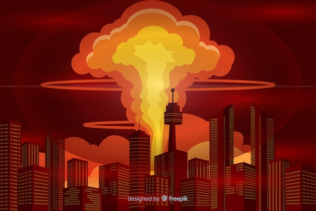 Estilo dos desenhos animados da ilustração da explosão nuclear Vetor grátis