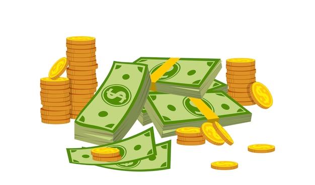 Estilo dos desenhos animados da pilha da moeda da pilha da composição do dinheiro. pilha de moedas de ouro, cassino, sinal de moeda do banco Vetor Premium