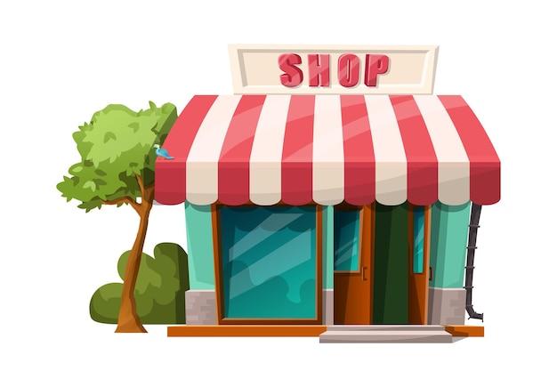 Estilo dos desenhos animados da vista da loja da frente do café. Vetor grátis