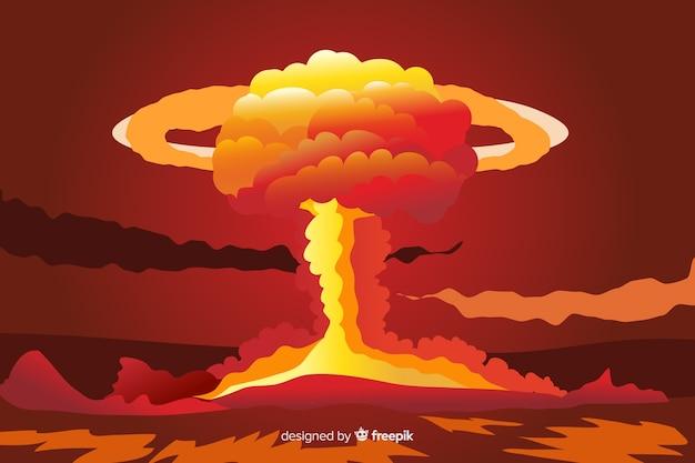 Estilo dos desenhos animados de efeito de explosão nuclear Vetor grátis