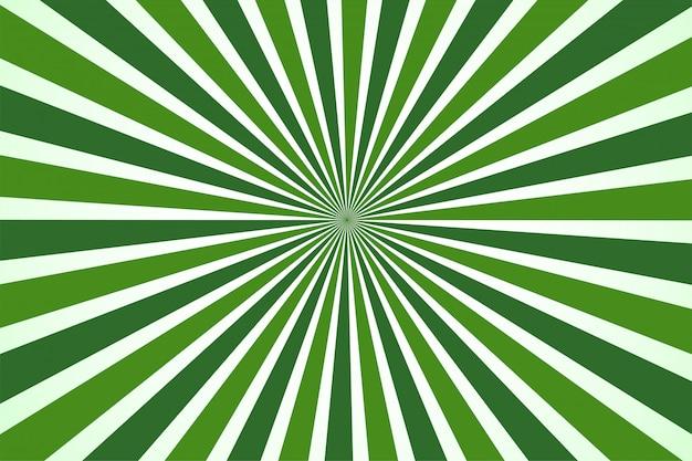 Estilo dos desenhos animados do fundo verde de abstack. bigbamm ou sunlight, sunburst Vetor Premium