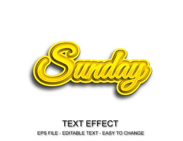 Estilo editável de efeito de texto de domingo Vetor Premium