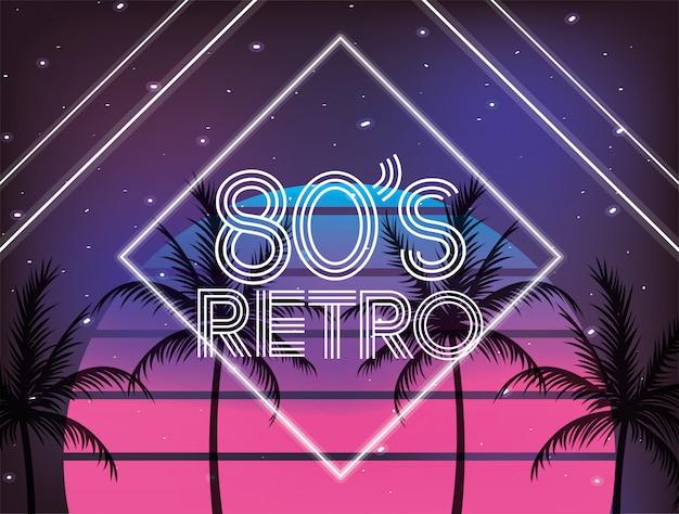 Estilo geométrico retro dos anos 80 e plams Vetor Premium
