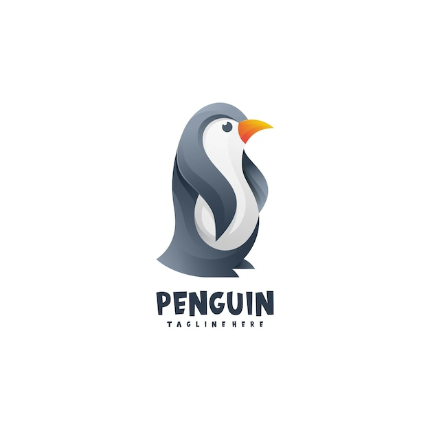 Estilo gradiente do logotipo do pinguim Vetor Premium