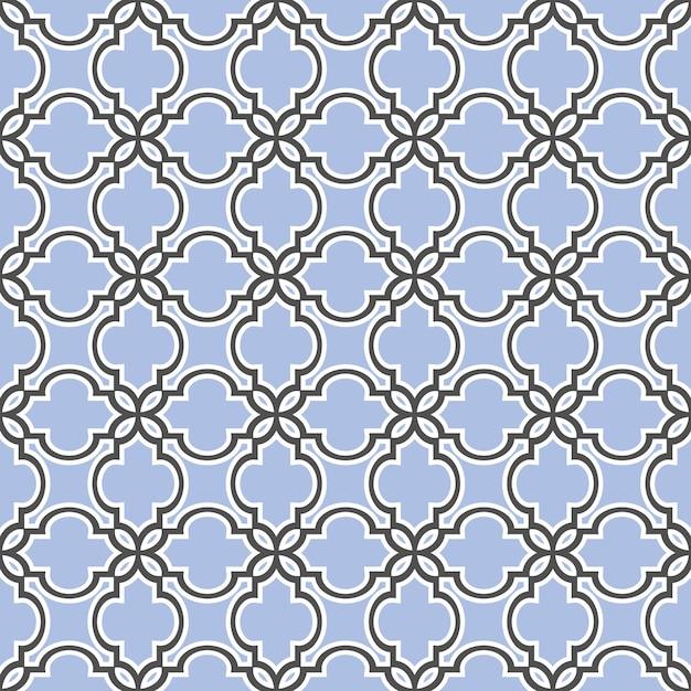Estilo islâmico azul padrão sem emenda Vetor Premium
