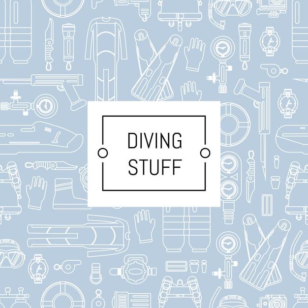 Estilo linear mergulho subaquático com lugar para texto. bandeira de padrão de mergulho esporte subaquático Vetor Premium