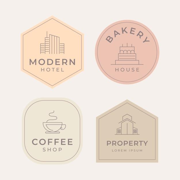 Estilo minimalista de coleção de logotipo Vetor grátis
