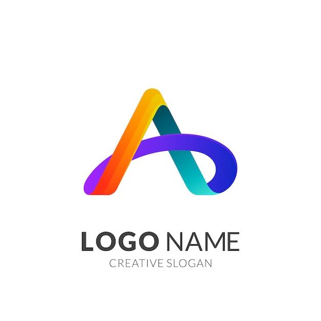 Estilo moderno de logotipo 3d em gradiente Vetor Premium