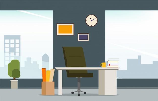 Estilo moderno do interior do local de trabalho do quarto do escritório. Vetor Premium