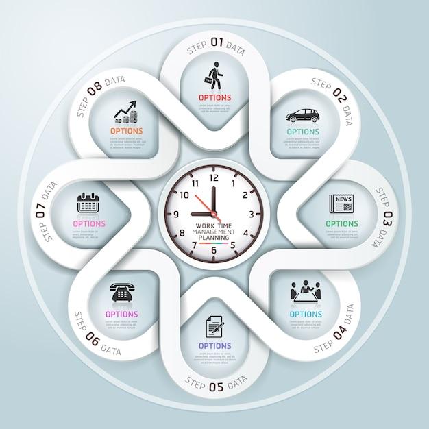Estilo moderno do origâmi do círculo de infographics do negócio. Vetor Premium