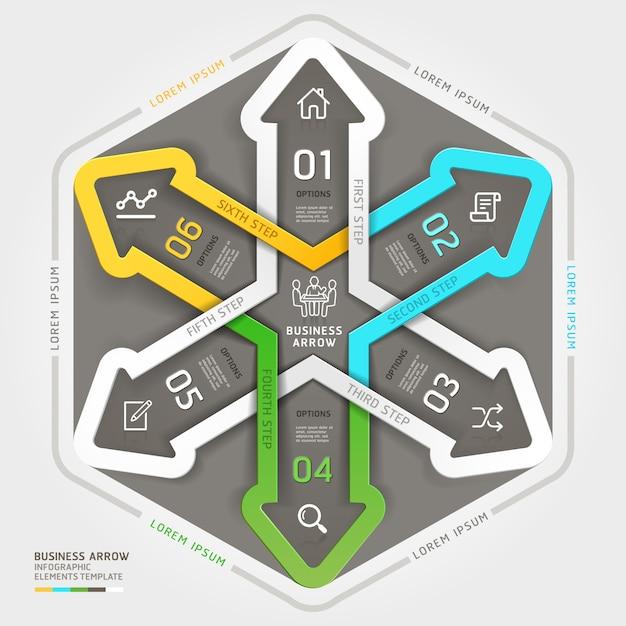 Estilo moderno do origâmi do círculo de negócio da seta. Vetor Premium