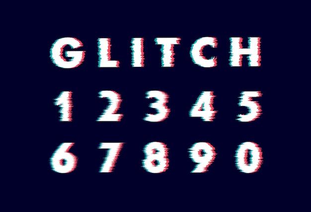 Estilo moderno estilo de falha distorcida. alfabeto de ilustração de letras e números Vetor Premium