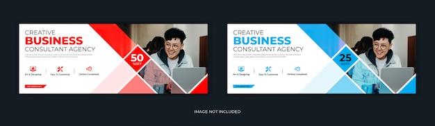 Estilo mosaico empresa corporativa mídia social postar página de capa do facebook linha do tempo online web Vetor Premium