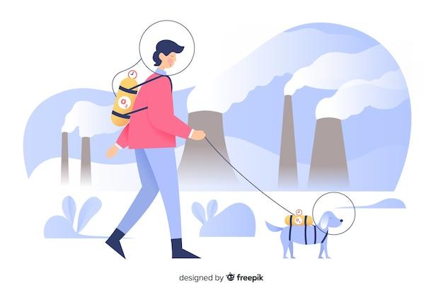 Estilo plano de fundo de conceito de poluição Vetor grátis