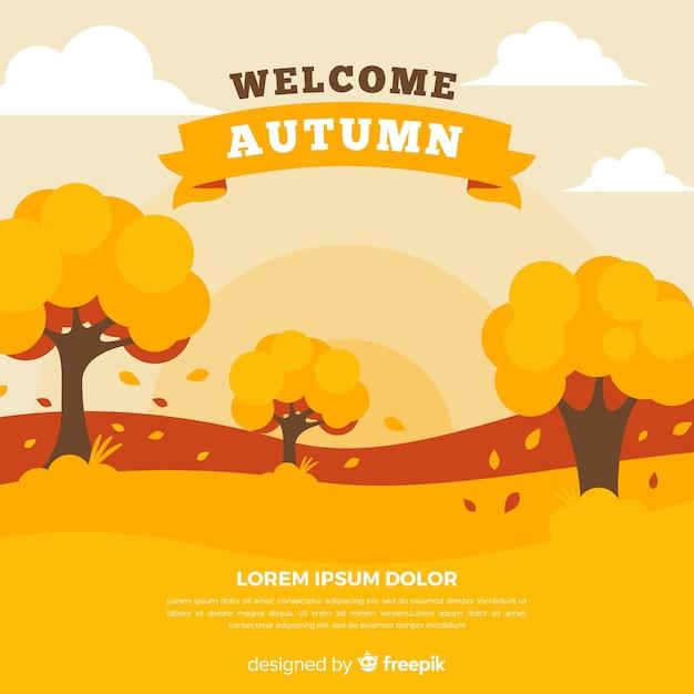 Estilo plano de fundo decorativo outono Vetor grátis