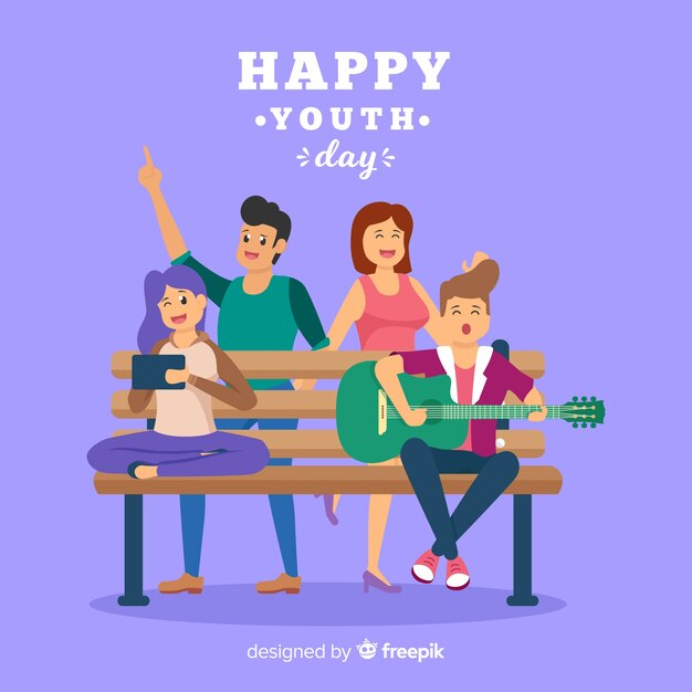 Estilo plano de fundo do dia da juventude Vetor grátis