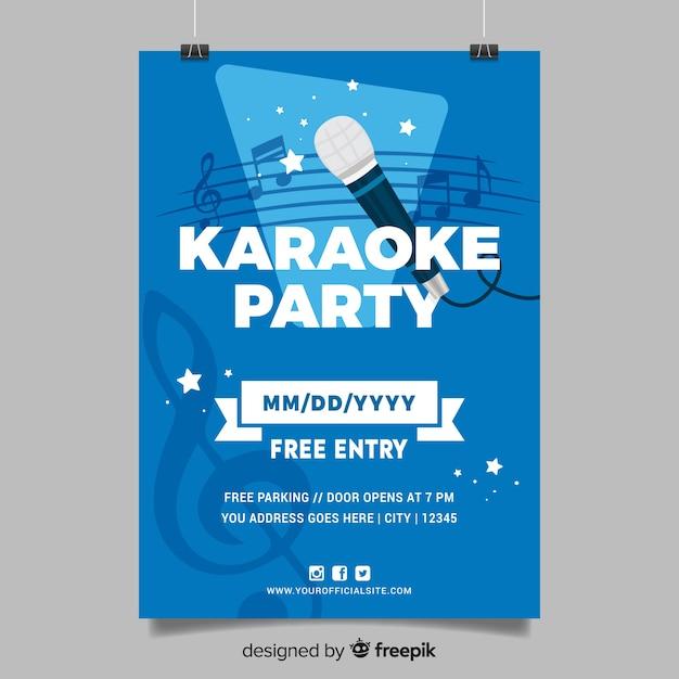 Estilo plano de modelo de cartaz de karaoke Vetor grátis