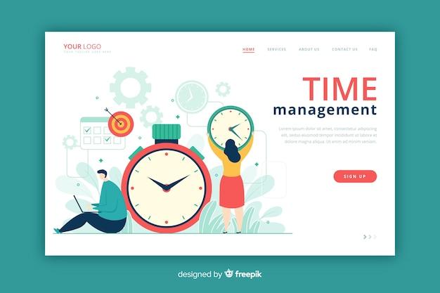 Estilo plano de página de destino de gerenciamento de tempo Vetor grátis