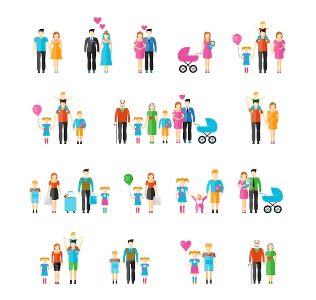 Estilo plano familiar. filha e avô, bebê e pai, filho e mãe, marido e mulher, irmão e irmã. Vetor grátis