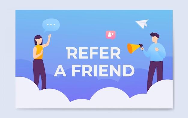 Estilo plano, indicar, um, palavra amigo, conceito, página aterragem, ilustração Vetor Premium