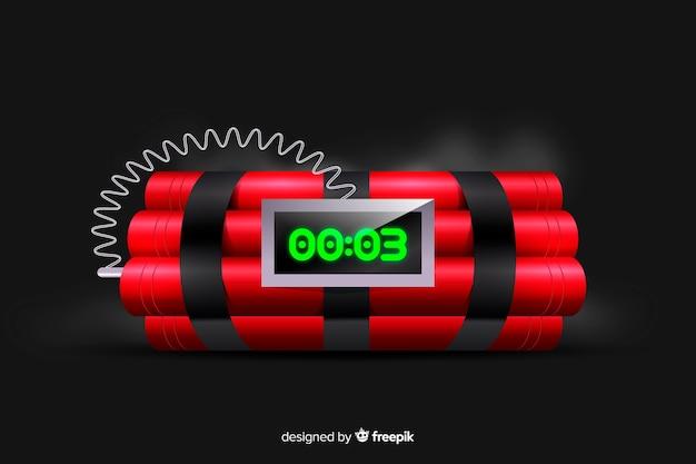 Estilo realista de bomba-relógio vermelho Vetor grátis