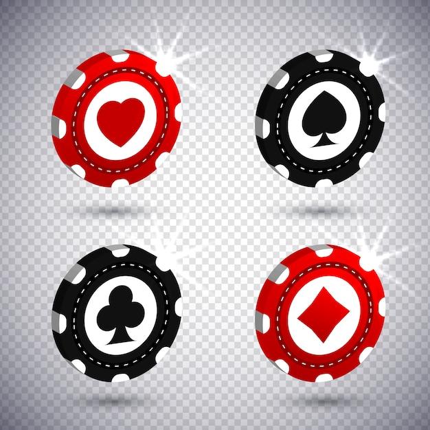 Estilo realista de fichas de poker 3d Vetor Premium