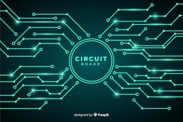Estilo realista de fundo de placa de circuito Vetor grátis