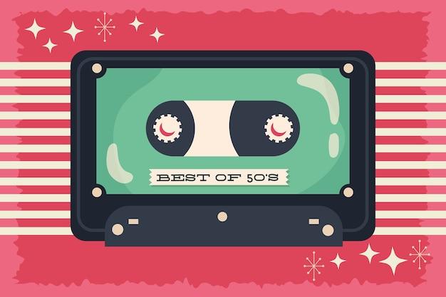 Estilo retro com design de ilustração vetorial de cassete de música Vetor Premium