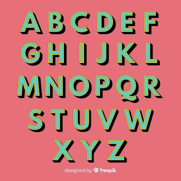 Estilo retrô de modelo retrô alfabeto Vetor grátis