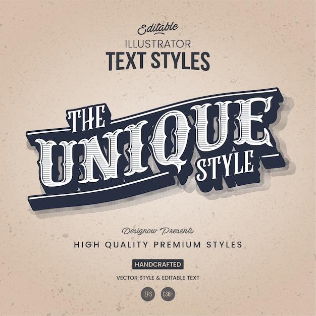Estilo retro e vintage de texto Vetor Premium