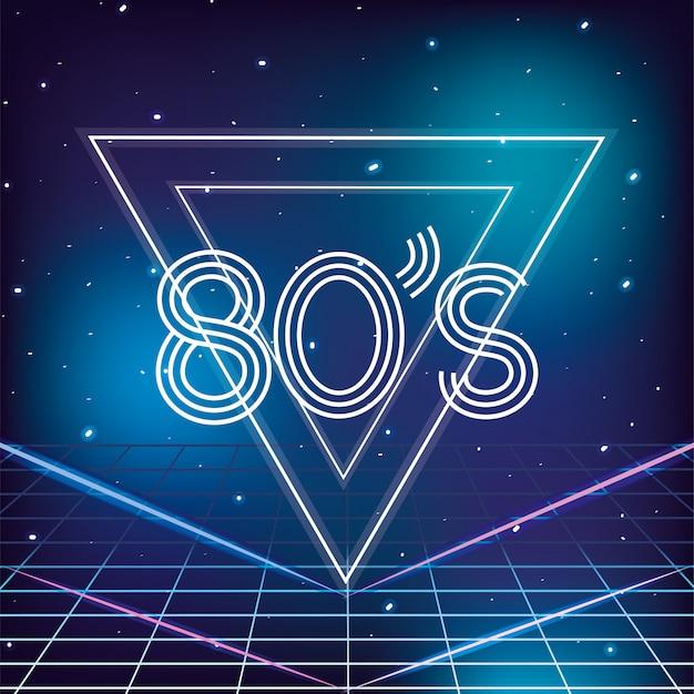 Estilo retrô geométrico dos anos 80 com fundo de estrelas da galáxia Vetor Premium