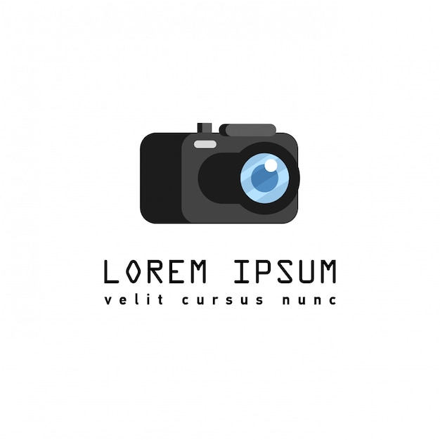 Estilo simples com longas sombras, ilustração de ícone de câmera. Vetor Premium