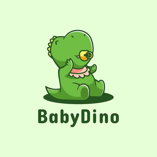 Estilo simples da mascote do logotipo do bebê dino. Vetor Premium